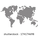 dot world maps and globes | Shutterstock .eps vector #174174698