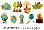 collection of earth global... | Shutterstock . vector #1741764278