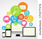 business internet on  different ... | Shutterstock .eps vector #174177176