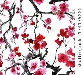 realistic sakura blossom  ... | Shutterstock . vector #174179225