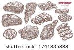 farm meat vector set. pork ... | Shutterstock .eps vector #1741835888