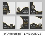Set of editable template post for social media ad. web banner ads for promotion design with gold gradient color.