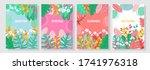 vector set floral background ... | Shutterstock .eps vector #1741976318