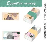 egyptian money  one pound and... | Shutterstock .eps vector #1741996958