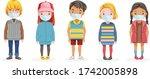 kids mask full body set. little ...   Shutterstock .eps vector #1742005898