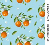 seamless pattern with oranges ... | Shutterstock .eps vector #1742009555