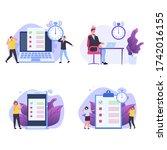 inefficient time management... | Shutterstock .eps vector #1742016155