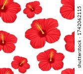 hibiscus seamless pattern...   Shutterstock .eps vector #1742062115