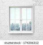 modern window with skyscraper... | Shutterstock . vector #174206312
