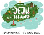 welcome to jeju island. jeju... | Shutterstock .eps vector #1742071532