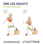 single leg squats with...   Shutterstock .eps vector #1742079848