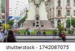 Monument to Jose de San Martin on the Plaza San Martin view in Lima, Peru. Nicolas de Pierola avenue traffic and historic buildings on a background