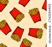 seamless pattern with french... | Shutterstock .eps vector #1742094905