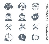 set of  support assistance... | Shutterstock .eps vector #1742096462