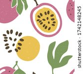cute passion fruit seamless... | Shutterstock .eps vector #1742148245
