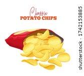 a bunch of potato chips spilled ...   Shutterstock .eps vector #1742153885