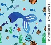 underwater animals seamless... | Shutterstock .eps vector #1742160995