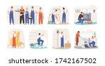 set of various smiling home... | Shutterstock .eps vector #1742167502