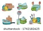 stack of dirty kitchen utensil...   Shutterstock .eps vector #1742182625