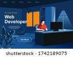web development isometric... | Shutterstock .eps vector #1742189075