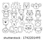 A Set Of Animal Heads In A...