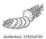 vector hand drawn pineapple.... | Shutterstock .eps vector #1742216735