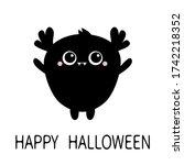 monster silhouette. happy...   Shutterstock . vector #1742218352