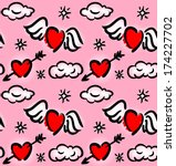 seamless pattern with hearts... | Shutterstock .eps vector #174227702