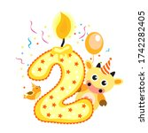happy second birthday candle... | Shutterstock . vector #1742282405