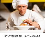 chef dressed in white uniform... | Shutterstock . vector #174230165