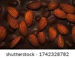 milk chocolate with almond ...   Shutterstock . vector #1742328782