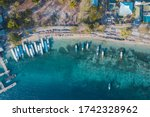 port with many boats on gili... | Shutterstock . vector #1742328962