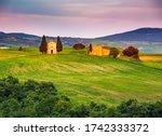 beautiful landscape with chapel ... | Shutterstock . vector #1742333372