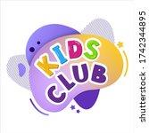 kids club vector cartoon banner.... | Shutterstock .eps vector #1742344895