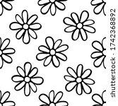 Black Contour Daisy Flowers...