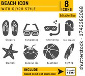 beach premium icon with glyph...