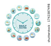 clock with daily activities... | Shutterstock .eps vector #1742387498