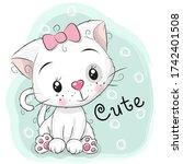 cute kitten girl and stars on a ...   Shutterstock . vector #1742401508