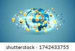 different yellow emoticons and... | Shutterstock .eps vector #1742433755