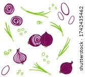 shallot onion seamless pattern. ... | Shutterstock .eps vector #1742435462