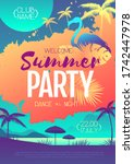 colorful summer disco party... | Shutterstock .eps vector #1742447978