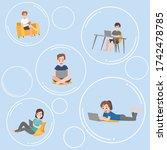 set of people floating inside... | Shutterstock .eps vector #1742478785