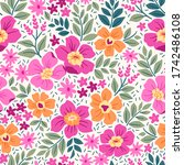 fantasy seamless floral pattern ... | Shutterstock .eps vector #1742486108
