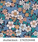 elegant floral pattern in small ... | Shutterstock .eps vector #1742524448