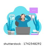 vector flat concept. tired... | Shutterstock .eps vector #1742548292