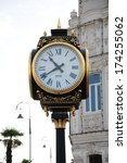 Small photo of BATUMI, ADJARA, GEORGIA - SEPTEMBER 14: Clock at Europe Square on September 14, 2013 in Batumi. Europe Square is surrounded with art nouveau buildings, with the statue of Medea as the focal point.