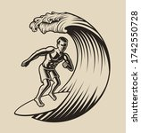 Vector Illustration Of A Surfer ...