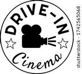 retro drive in cinema label... | Shutterstock .eps vector #1742565068