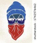 gangster skull vector logo ... | Shutterstock .eps vector #1742576462
