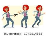 cartoon flat funny redhead... | Shutterstock .eps vector #1742614988